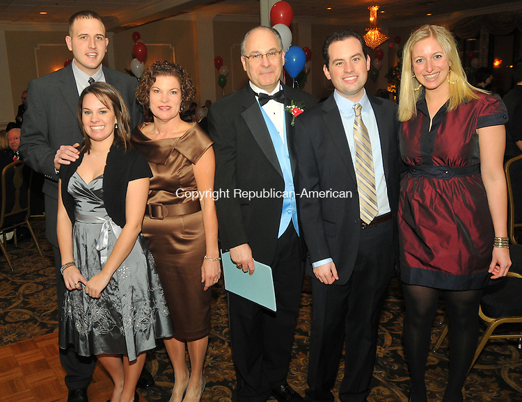 WATERBURY, CT- 30 JANUARY 2009 - 013010IP14- ( l to r) Nate Bondini, Lauren Rinaldi, Marylou Rinaldi, Nick Rinaldi, treasurer, Mark Rinaldi and Carter Calwson, attended an installation dinner and ceremony of the Pontelandolfo Club of Waterbury at Villa Rosa Restaurant in Waterbury on Saturday. The club has almost 800 members. Pontelandolfo is a town in Italy of about 4,000 people. <br /> Irena Pastorello Republican-American