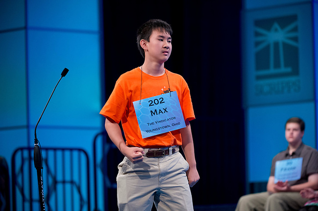 Speller 202 Max Lee spells his first word correctly in the semi-final rounds of the Scripps National Spelling Bee at the Gaylord National Resort and Convention Center in Oxon Hill, Md., on Thursday,  May 31, 2012. Photo by Bill Clark