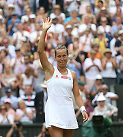 Barbora Strycova (CZE) celebrates after winning her match against Johanna Konta (GBR) in their Ladies' Singles Quarter-Finals match<br /> <br /> <br /> Photographer Rob Newell/CameraSport<br /> <br /> Wimbledon Lawn Tennis Championships - Day 8 - Tuesday 9th July 2019 -  All England Lawn Tennis and Croquet Club - Wimbledon - London - England<br /> <br /> World Copyright © 2019 CameraSport. All rights reserved. 43 Linden Ave. Countesthorpe. Leicester. England. LE8 5PG - Tel: +44 (0) 116 277 4147 - admin@camerasport.com - www.camerasport.com