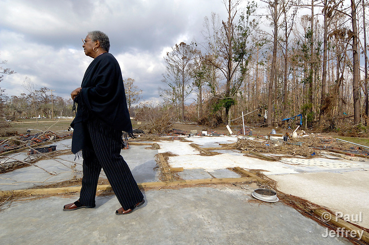 Marian T. Martin surveys the ruins of her home in the Gulfside Assembly in Waveland, Mississippi. The retreat facility was destroyed by Hurricane Katrina in 2005.  Martin is a United Methodist deaconess and the executive director of the Gulfside Assembly, a historic gathering place for African Americans during the civil rights struggle.