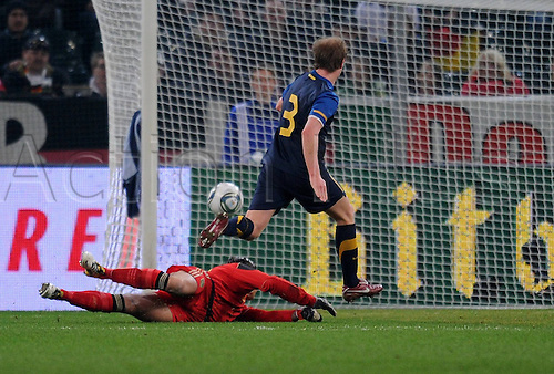 29 03 2011  International euro 2012 friendly   Germany.  Australia goal for 1- 1 scored by David Carney right Australia against Tim Meadows left Germany