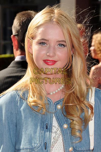 Kathryn Newton<br /> ESPY Awards 2013 held at Nokia Theatre LA Live, Los Angeles, California, USA.<br /> July 17th, 2013<br /> headshot portrait blue jean denim red lipstick <br /> CAP/ADM/BP<br /> &copy;Byron Purvis/AdMedia/Capital Pictures