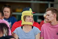 Fans wear the Apollo 11 50th Anniversary Commemorative Astronaut helmet at Smith's Ballpark as the Las Vegas Aviators played the Salt Lake Bees on July 20, 2019 in Salt Lake City, Utah. The Aviators defeated the Bees 8-5. (Stephen Smith/Four Seam Images)