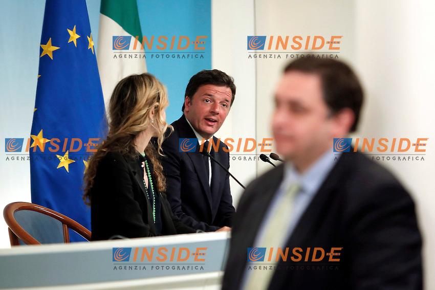 Marianna Madia, Matteo Renzi<br /> Roma 15-06-2016  Palazzo Chigi. Consiglio dei Ministri, CDM.<br /> Rome 15th June 2016. Press conference at the end of Minister's cabinet<br /> Photo Samantha Zucchi Insidefoto