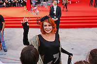 Marina Ripa Di Meana poses on the red carpet to present the movie 'Spotlight' during the 72nd Venice Film Festival at the Palazzo Del Cinema, in Venice, September 3, 2015. <br /> UPDATE IMAGES PRESS/Stephen Richie
