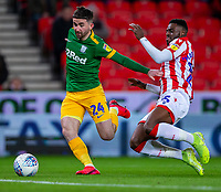 12th February 2020; Bet365 Stadium, Stoke, Staffordshire, England; English Championship Football, Stoke City versus Preston North End; Bruno Martins Indi of Stoke City tackles Sean Maguire of Preston North End