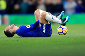 5th November 2017, Stamford Bridge, London, England; EPL Premier League football, Chelsea versus Manchester United; Eden Hazard of Chelsea goes down injured as his foot is trodden on