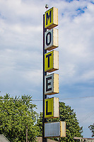 The old Pioneers Rest Motel next door to the Pig Hip Restuarant in Broadwell Illinois on Route 66 in no longer welcoming travelers.