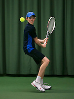 Rotterdam, The Netherlands, 15.03.2014. NOJK 14 and 18 years ,National Indoor Juniors Championships of 2014, Zachary Elsinga (NED)<br /> Photo:Tennisimages/Henk Koster