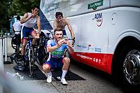 Adrien Petit (FRA/Total Direct Energie) with a warm up selfie with teammates Anthony Turgis (FRA/Team Total - Direct Energie) and Alexandre Pichot (FRA/Total Direct Energie)<br /> <br /> <br /> Baloise Belgium Tour 2019<br /> Stage 3: ITT Grimbergen – Grimbergen 9.2km<br /> ©kramon