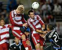 Santa Clara, California - Saturday July 18, 2012: FC Dallas' Matt Hedges & Brek Shea  jumo for the ball during a game against San Jose Earthquakes at Buck Shaw Stadium, Stanford, Ca   San Jose Earthquakes defeated FC Dallas 2 - 1.