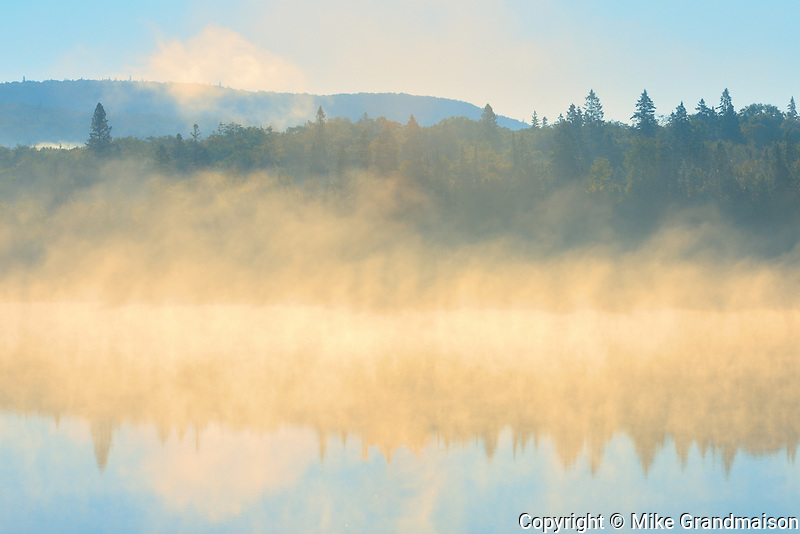 Morning fog on northern lake<br /> Lake Superior Provincial Park<br /> Ontario<br /> Canada