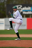 Beloit Snappers starting pitcher Bryce Conley (33) during a Midwest League game against the Lake County Captains at Pohlman Field on May 6, 2019 in Beloit, Wisconsin. Lake County defeated Beloit 9-1. (Zachary Lucy/Four Seam Images)