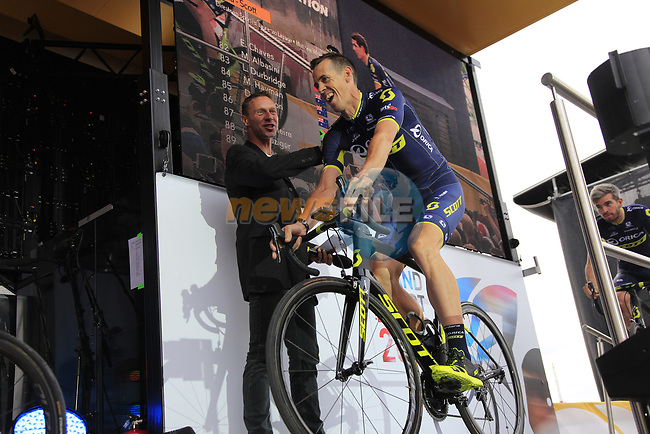 Mathew Hayman (AUS) Orica-Scott team on stage at the Team Presentation in Burgplatz Dusseldorf before the 104th edition of the Tour de France 2017, Dusseldorf, Germany. 29th June 2017.<br /> Picture: Eoin Clarke | Cyclefile<br /> <br /> <br /> All photos usage must carry mandatory copyright credit (&copy; Cyclefile | Eoin Clarke)