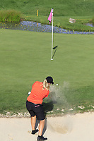 Caroline Hedwall SWE) chips from a bunker at 16th green during Thursday's Round 1 of The Evian Championship 2018, held at the Evian Resort Golf Club, Evian-les-Bains, France. 13th September 2018.<br /> Picture: Eoin Clarke | Golffile<br /> <br /> <br /> All photos usage must carry mandatory copyright credit (© Golffile | Eoin Clarke)