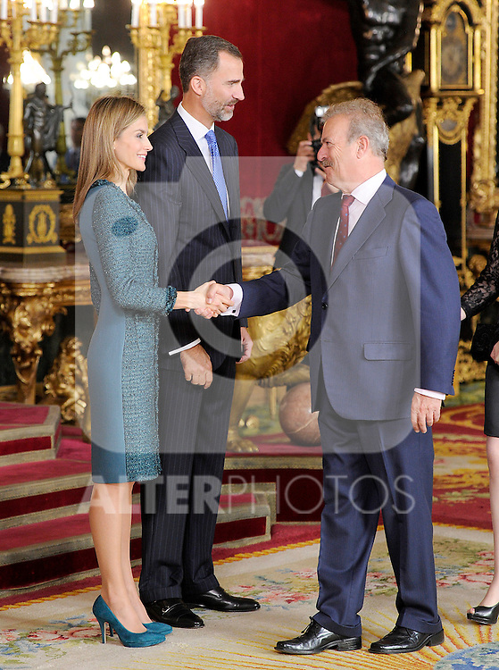 Queen Letizia of Spain and King Felipe VI of Spain with the spanish journalist Manuel Campo Vidal during the Spain's National Day Royal Reception at Royal Palace on October 12, 2014 in Madrid, Spain. October 12 ,2014. (ALTERPHOTOS/Pool)