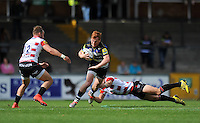 Rory Jennings of Bath Rugby takes on the Gloucester defence. West Country Challenge Cup match, between Gloucester Rugby and Bath Rugby on September 13, 2015 at the Memorial Stadium in Bristol, England. Photo by: Patrick Khachfe / Onside Images