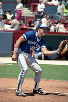 Toronto Blue Jays catcher Pat Borders during spring training circa 1990 at Chain of Lakes Park in Winter Haven, Florida.  (MJA/Four Seam Images)