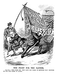 "The Fight for the Banner. John Bull. ""This tires me. Why can't you carry it between you? Neither of you can carry it alone."" (Sir Edward Carson and John Redmond pull the Peace for Ireland banner in opposite directions causing it to rip)"