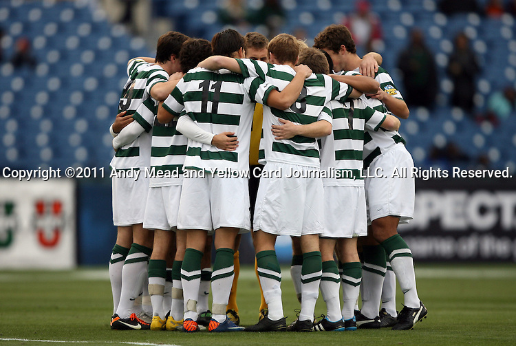11 December 2011: UNCC's starters huddle before the game. The University of North Carolina Tar Heels defeated the University of North Carolina Charlotte 49ers 1-0 at Regions Park in Hoover, Alabama in the NCAA Division I Men's Soccer College Cup Final.