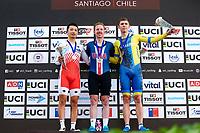 Picture by Alex Whitehead/SWpix.com - 10/12/2017 - Cycling - UCI Track Cycling World Cup Santiago - Velódromo de Peñalolén, Santiago, Chile - USA's Daniel Holloway wins Gold in the Men's Omnium, Silver - Japan's Eiya Hashimoto, Bronze - Ukraine's Roman Gladysh.