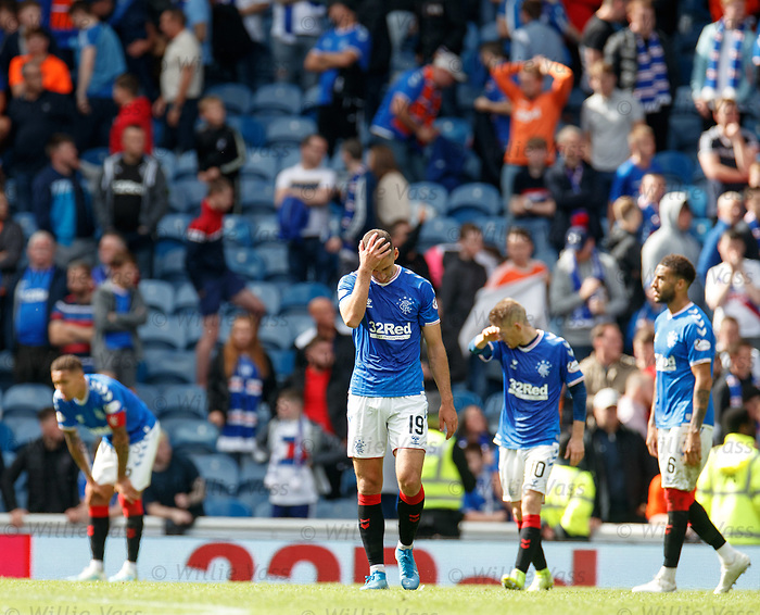 01.09.2019 Rangers v Celtic: Dejection from Rangers