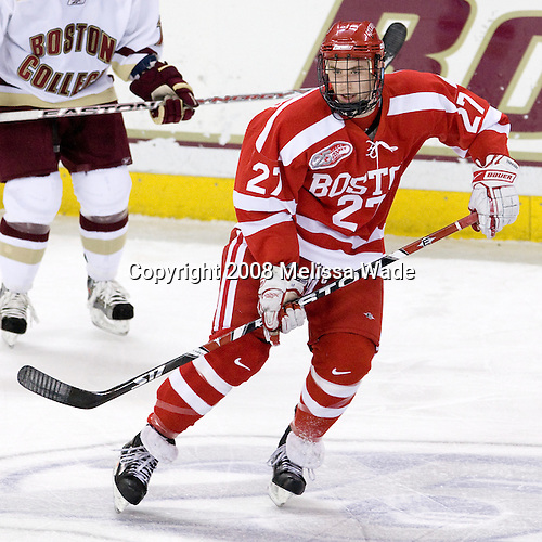Vinny Saponari (Boston University - 27) - The Boston University Terriers defeated the Boston College Eagles 3-1 at Kelley Rink in Conte Forum in Chestnut Hill, Massachusetts.