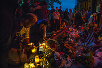NEW YORK JUNE 13: People light candles outside Manhattan's historic Stonewall Inn to express their support for the victims killed at Pulse nightclub in Orlando in New York on June 13 ,2016. Photo by VIEWpress/Maite H. Mateo.