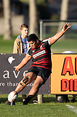 Faalae Peni attempts to convert the Kris Smithson try. Counties Manukau Premier Club Rugby game between Pukekohe and Papakura, played at Colin Lawrie Fields Pukekohe on Saturday June 9th 2018. Pukekohe won the game 37 - 22 after leading 15 - 10 at halftime. <br /> Photo by Richard Spranger.