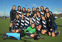 The Auckland team pose for a team photo after the National Women's Association Under-18 Hockey Tournament 7th place playoff match between Taranaki and Auckland at Twin Turfs in Clareville, New Zealand on Saturday, 15 July 2017. Photo: Dave Lintott / lintottphoto.co.nz