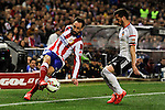 Atletico de Madrid´s Juanfran and Valencia CF´s Daniel Parejo during 2014-15 La Liga match between Atletico de Madrid and Valencia CF at Vicente Calderon stadium in Madrid, Spain. March 08, 2015. (ALTERPHOTOS/Luis Fernandez)