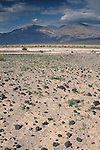Scattered rocks on sandy basin in spring under blue skies and clouds, Panamint Valley, Inyo County desert, California