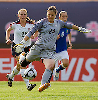 USWNT goalkeeper (24) Nicole Barnhart punts the ball forward during the last group stage game at the Peace Queen Cup.  The USWNT defeated Italy, 2-0, at the Suwon Sports Center in Suwon, South Korea.