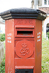 Old red British Post Office pillar box in the historic town of Galle, Sri Lanka, Asia