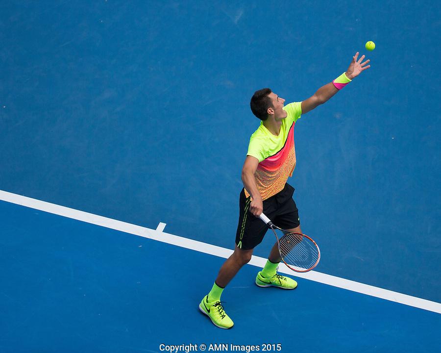 Bernard Tomic (AUS)<br /> <br /> Tennis - Australian Open 2015 - Grand Slam -  Melbourne Park - Melbourne - Victoria - Australia  - 25 January 2015. <br /> &copy; AMN IMAGES