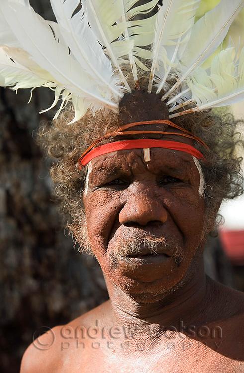 Portrait of an Aurukun dancer at the Laura Aboriginal Dance Festival.  Laura, Queensland, Australia