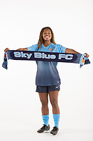 Belmar, NJ - Wednesday March 29, 2017: Kayla Mills poses for photos at the Sky Blue FC team photo day.