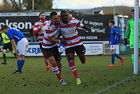 Dan Hector of Kingstonian celebrates the opener during Macclesfield Town vs Kingstonian, Emirates FA Cup Football at the Moss Rose Stadium on 10th November 2019