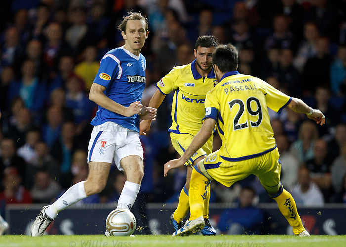 Sasa Papac puts the ball around Manuel Pascali