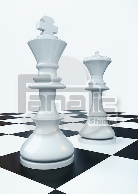 Illustrative image of king and queen on chess board representing battle of sexes