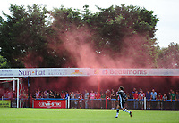 A red smoke flare is let off during the first half<br /> <br /> Photographer Chris Vaughan/CameraSport<br /> <br /> Football - Pre-Season Friendly - Lincoln United v Lincoln City - Saturday 8th July 2017 - Sun Hat Villas Stadium - Lincoln<br /> <br /> World Copyright &copy; 2017 CameraSport. All rights reserved. 43 Linden Ave. Countesthorpe. Leicester. England. LE8 5PG - Tel: +44 (0) 116 277 4147 - admin@camerasport.com - www.camerasport.com