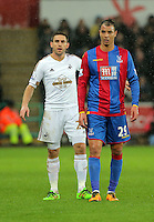 (L-R) Angel Rangel of Swansea and Marouane Chamakh of Crystal Palace during the Barclays Premier League match between Swansea City and Crystal Palace at the Liberty Stadium, Swansea on February 06 2016