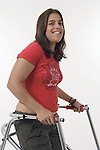 Young woman with Cerebral Palsy smiling. MR