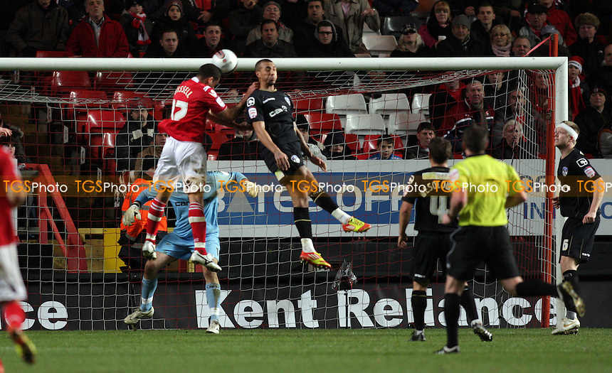 Darel Russell of Charlton Athletic FC scores taking Charlton Athletic FC 1-0 up - Charlton Athletic vs Oldham Athletic - nPower League One Football at The Valley, London - 17/12/11 - MANDATORY CREDIT: Helen Watson/TGSPHOTO - Self billing applies where appropriate - 0845 094 6026 - contact@tgsphoto.co.uk - NO UNPAID USE.