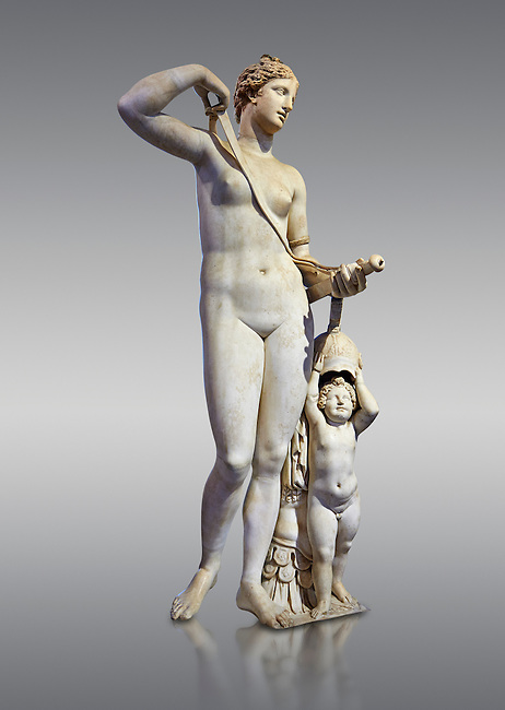 Venus (Aphrodite) in Arms. A 2nd century AD marble Roman statue completed in the 16th century. The so called Venus in Arms shows Venus with a sword and armour accompanied by a cupid that is about to try on her oversized helmet. The statue belonged to the collection of Tiberio Ceuli, purchased by Cardinal Scipione Borghese (1576-1623) in 1607. The Roman head does not seem to belong to the statue. It graced one niche of the living room of the Villa Borghese.<br /> Borghese collection, Inv No. MR. 373 (Usual No Ma 370), Louvre Museum, Paris.