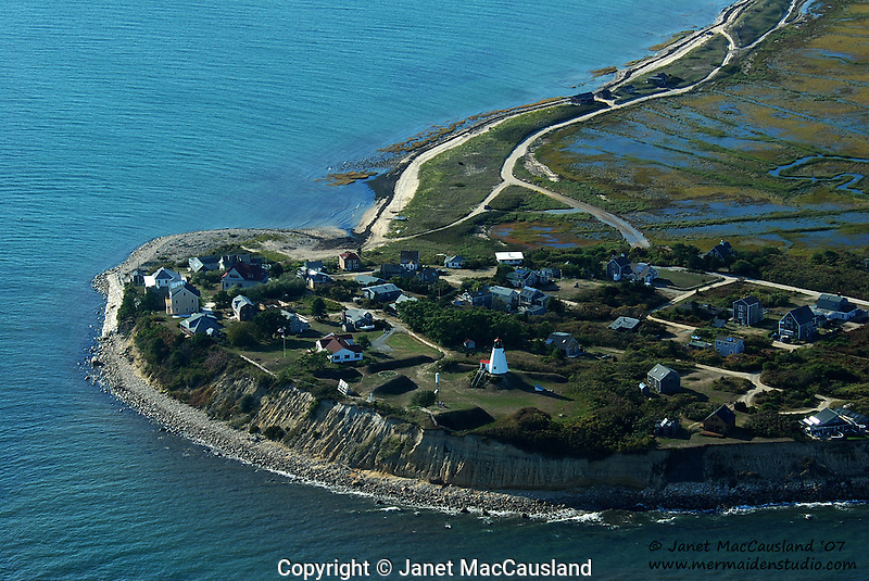 Aerial View of Plymouth lighthouse, Massachusetts, USA.