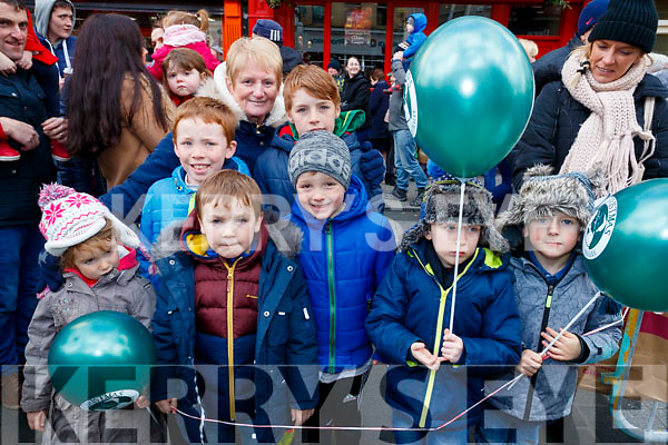 Waiting for Santa Claus at the CH Chemist, Tralee parade on Saturday afternoon last were l-r; Mary Cronin, Jack Kelly, Lewis Taylor, Anne Pullen, Diarmuid Taylor, James Kelly, Brendan Cronin and Danny Hennessy.