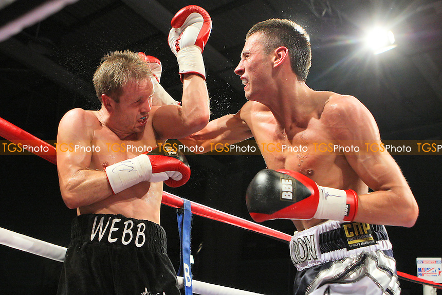 Prince Arron (silver/black shorts) defeats Sam Webb (black shorts) in a Light-Middleweight boxing contest for the British Title at Medway Park, Gillingham, promoted by Frank Maloney - 13/05/11 - MANDATORY CREDIT: Gavin Ellis/TGSPHOTO - Self billing applies where appropriate - Tel: 0845 094 6026