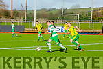 In Action Celtic's Garry Keane gets away from Mitchels Sean O'Reilly at the   Munster Junior Cup 2nd Round Mitchels Avenue v Killarney Celtic at Mounthawk Park on Sunday