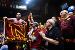 SIOUX FALLS, SD - MARCH 24: A Northern State University fan is carried through the arena during the Division II Men's Basketball Championship held at the Sanford Pentagon on March 24, 2018 in Sioux Falls, South Dakota. Ferris State University defeated Northern State University 71-69. (Photo by Tim Nwachukwu/NCAA Photos via Getty Images)